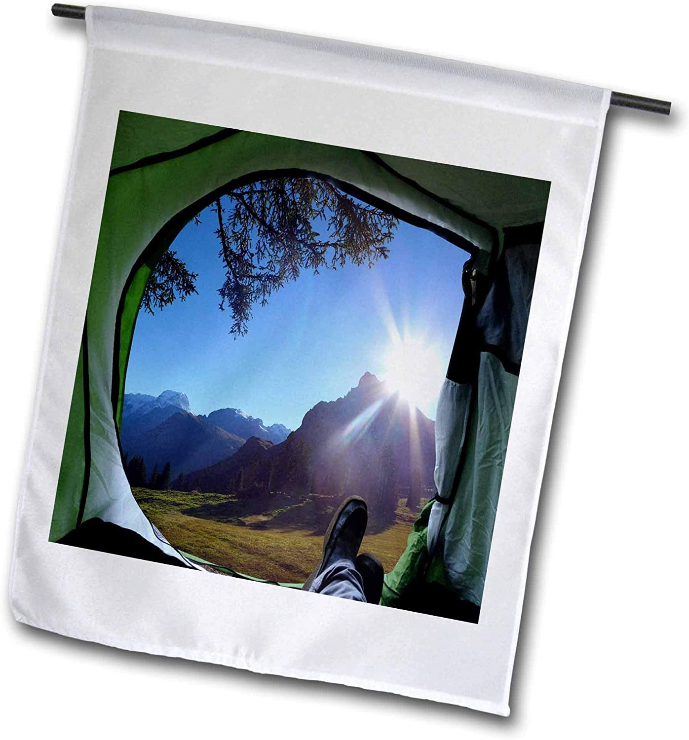 3dRose 2 Travel – Camping, Hiking, Biking Activities - Mountain View from The Tent Camping Vacation - 12 x 18 inch Garden Flag (fl_311404_1)