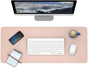Leather Desk Pad Protector, IEZFIX Dual-Sided Laptop Desktop Desk Mat, Large Computer Keyboard and Mouse Pad,Gifts for Kids/Men/Women,Office Desk Accessories,Home Décor Products (Warm Pink)