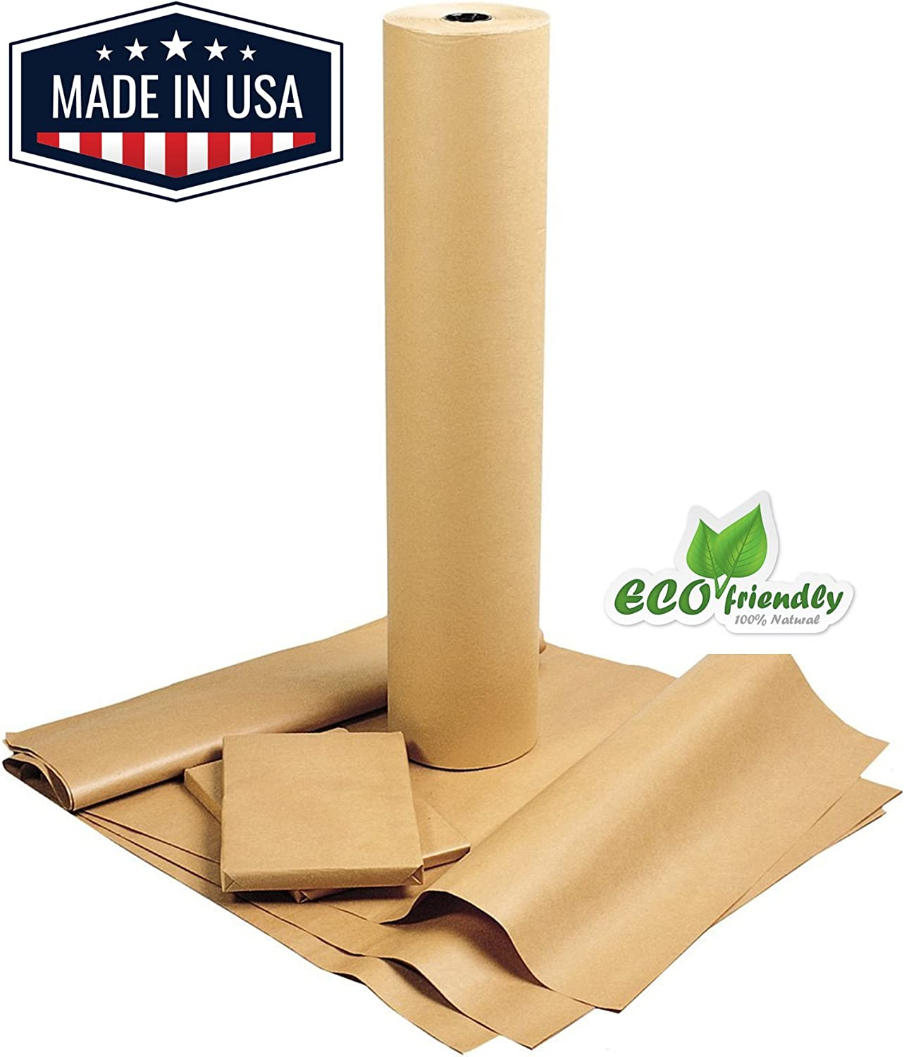 """American Made Brown Kraft Paper Jumbo Roll 17.75"""" x 2400"""" (200ft) Ideal for Gift Wrapping, Art, Craft, Postal, Packing, Shipping, Floor Covering, Dunnage, Parcel, Table Runner 100% Recycled Material"""
