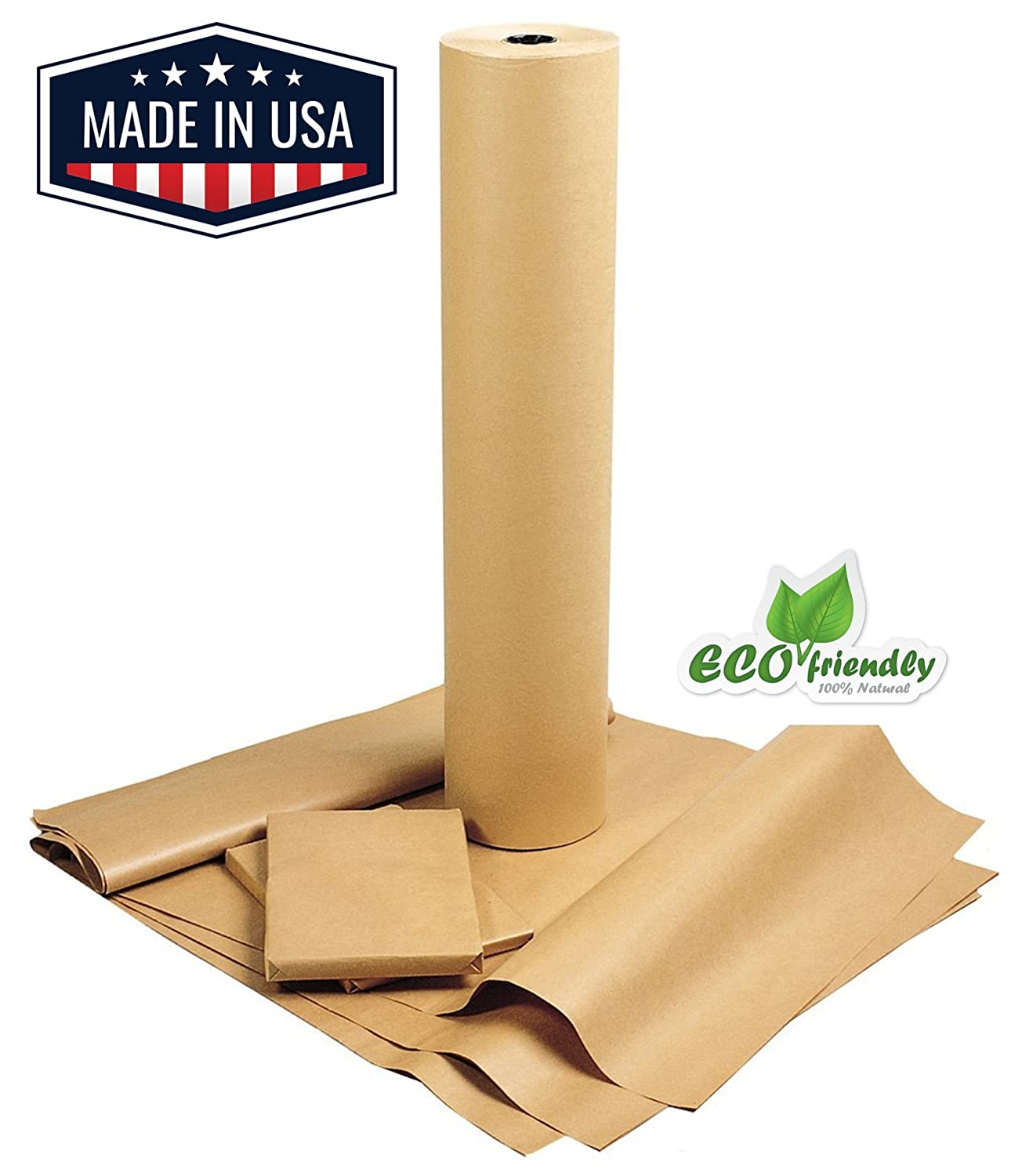 "American Made Brown Kraft Paper Jumbo Roll 17.75"" x 2400"" (200ft) Ideal for Gift Wrapping, Art, Craft, Postal, Packing, Shipping, Floor Covering, Dunnage, Parcel, Table Runner 100% Recycled Material NY Paper Mill 4336878802"