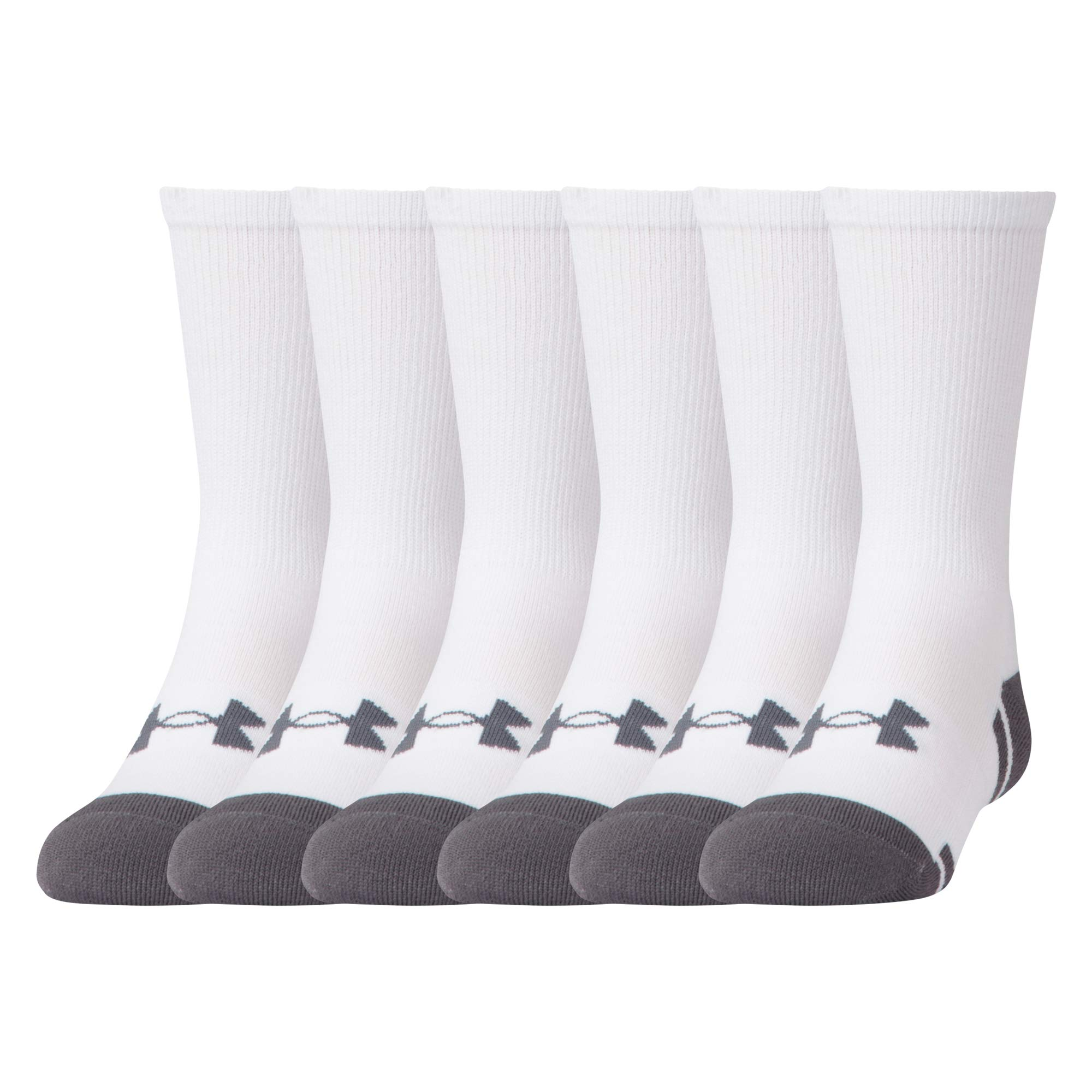 Under Armour Youth Resistor 3.0 Crew Socks, 6 Pairs, White/Graphite, Shoe Size: Youth 13.5K-4Y by Under Armour