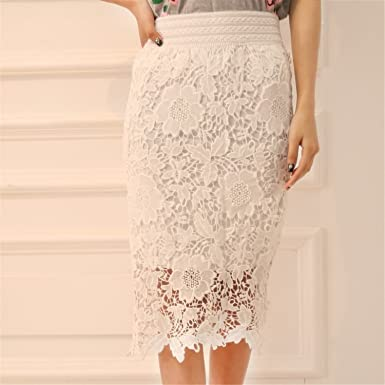 53a6e57fc0d Image Unavailable. Image not available for. Color  TOGIC Fashion Women Lace  Skirt A-Line Hollow Out White Black ...