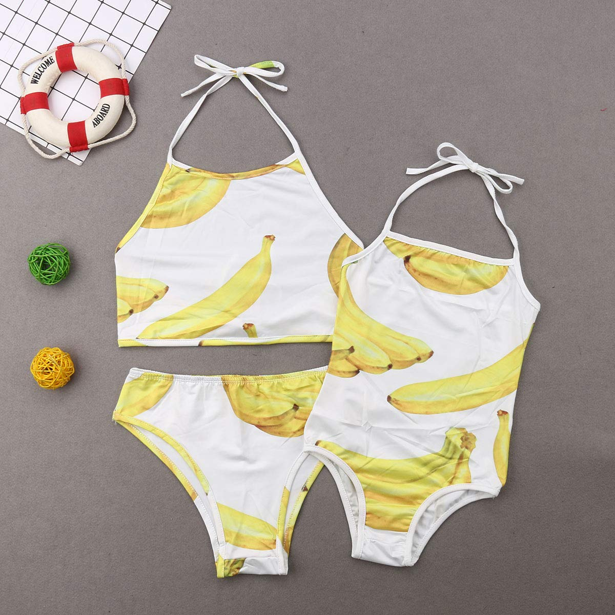Family Matching Swimsuit Fruits Print Mommy Two Piece Halter Bathing Suits Daughter One Piece Monokini Beachwear