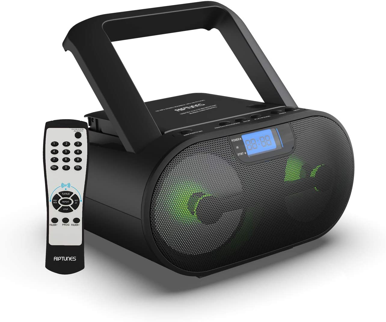 Riptunes CD Player Bluetooth Boombox AM/FM Portable Radio Digital LCD MP3/CD, USB, mSD, Aux, Headphone Jack Stereo Sound System with Enhanced Bass, LCD Display with Remote, Black