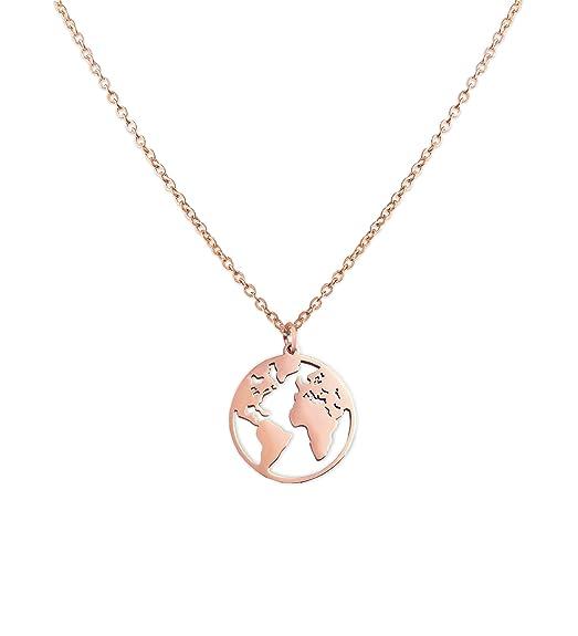 LUAMAYA Damen Halskette | Edelstahlketten mit verschiedenen Motiven in Gold, Silber und Roségold | Globus, Coins, Plättchen,