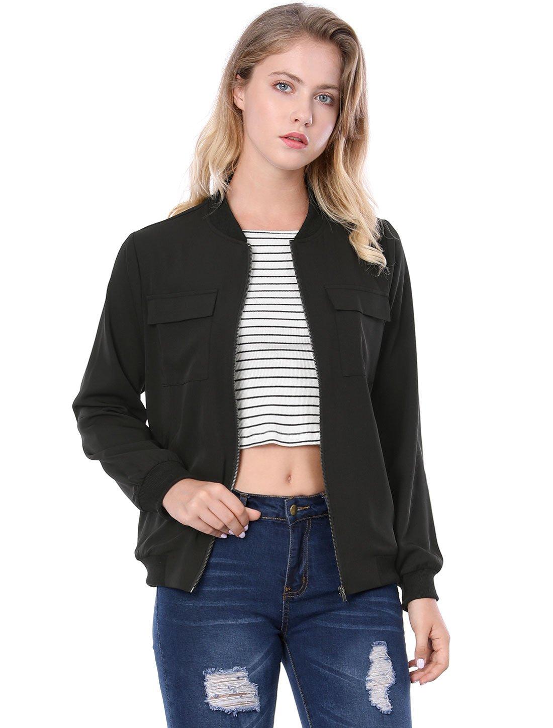Allegra K Women's Multi-Pocket Zip Fastening Lightweight Bomber Jacket S Black