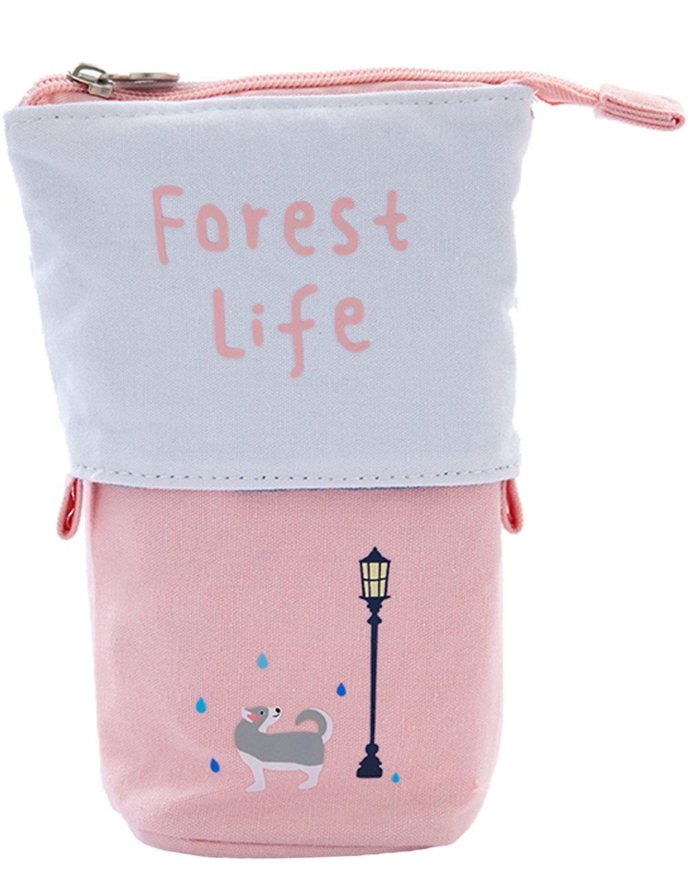 Lapicero vertical iSuperb de lona, organizador adorable para pinceles de maquillaje, bolsa de almacenamiento 19,5 x 8,5 x 13 cm, color rosa: Amazon.es: ...