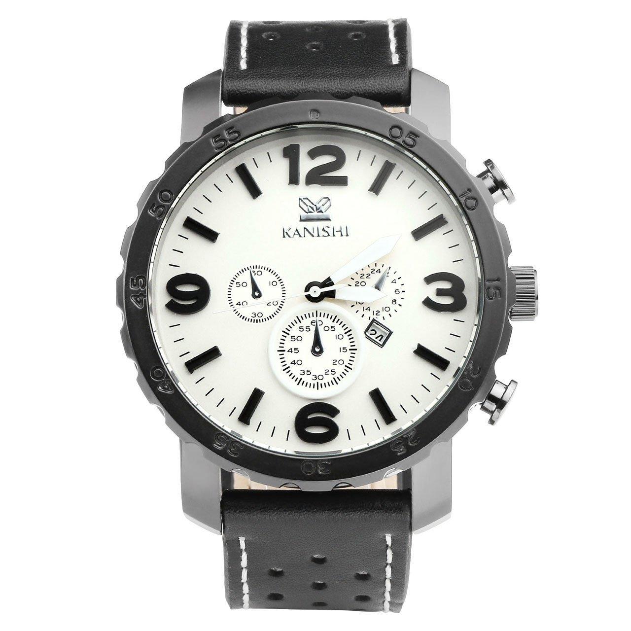 JSDDE Herren-Armbanduhr XL Uhren Herren Echtleder Band Kalenderuhr Traveler unecht Chronograph Analog Quarzuhr,Schwarz/Weiss