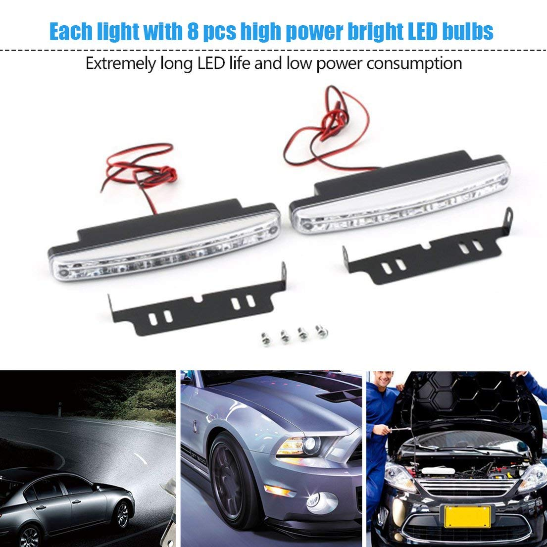 DFH Universal 12V 8X LED Auto Auto Tagfahrlicht Nebelscheinwerfer Autofahrlicht Zusatzscheinwerfer mit wei/ßem Licht super HOT schwarz
