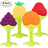 PROMENE Baby Teether Toys (4 Pack) - Soft Silicone Fruit Teething Toys Set For Toddlers & Infants, Baby Gum Massager