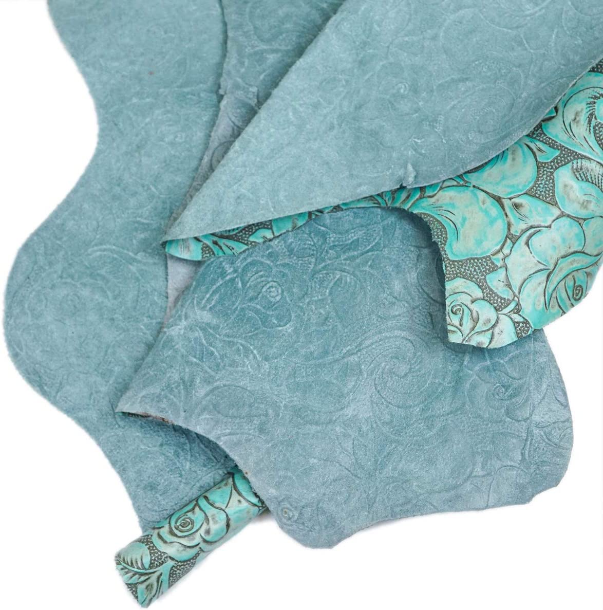 6 x 12 Springfield Leather Company Antique Floral Turquoise Pre-Cut