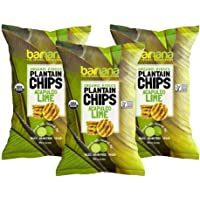 Barnana Organic Plantain Chips - Acapulco Lime - 5 Ounce, 3 Pack Plantains - Barnana Salty, Crunchy, Thick Sliced Snack - Best Chip For Your Everyday Life - Cooked in Premium Coconut Oil