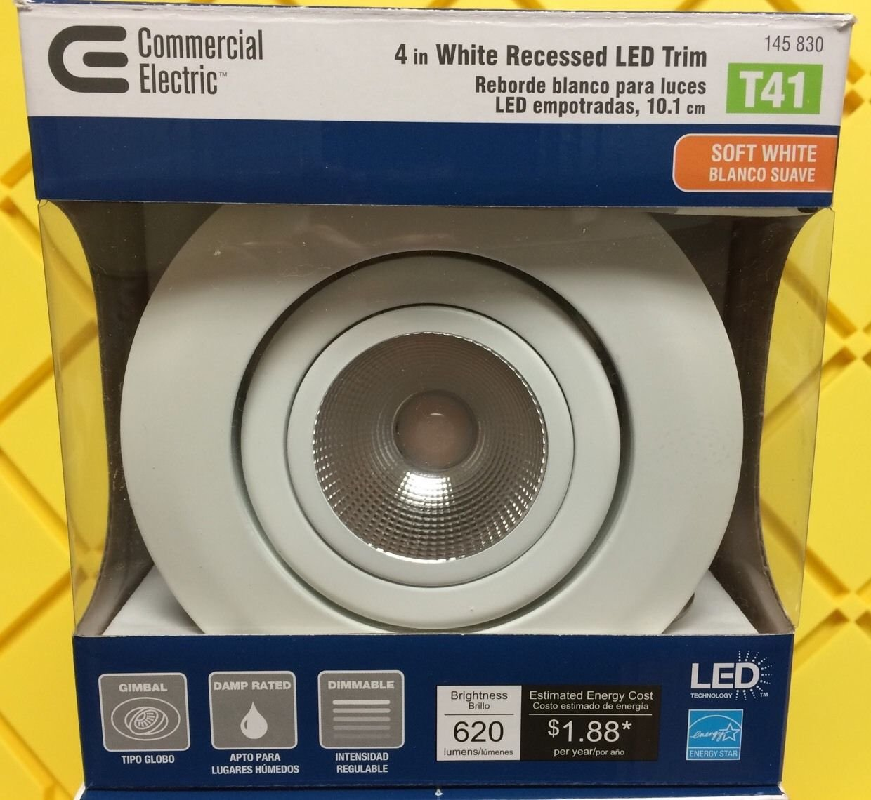 Amazon.com: 4 Pk LED Commercial Electric 4 in. Dimmable White Recessed Gimbal Light T41 --P#EWT43 65234R3FA529261: Home & Kitchen