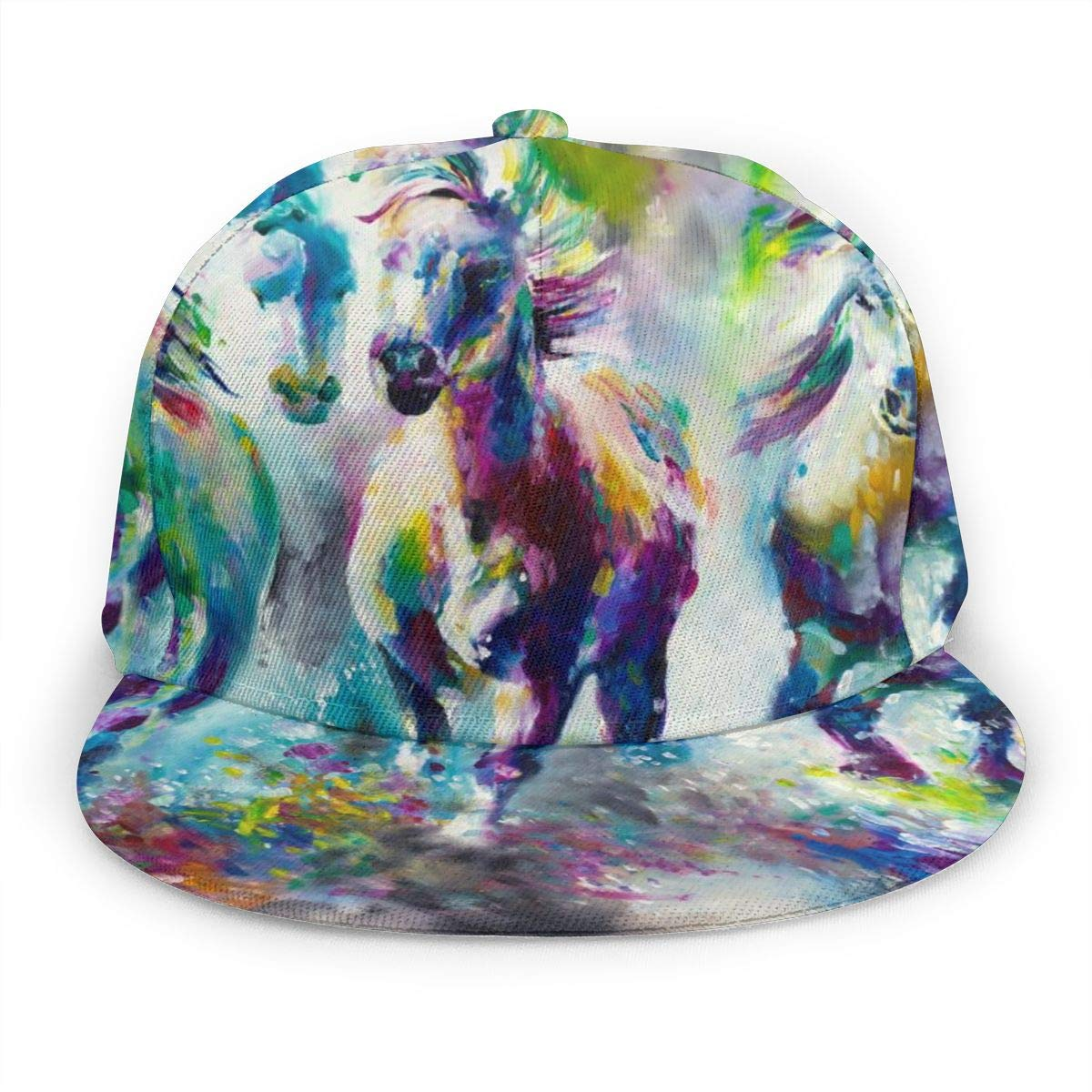 Colorful Watercolor Running Horse Women Adult Cap Adjustable Cowboys Hats Black