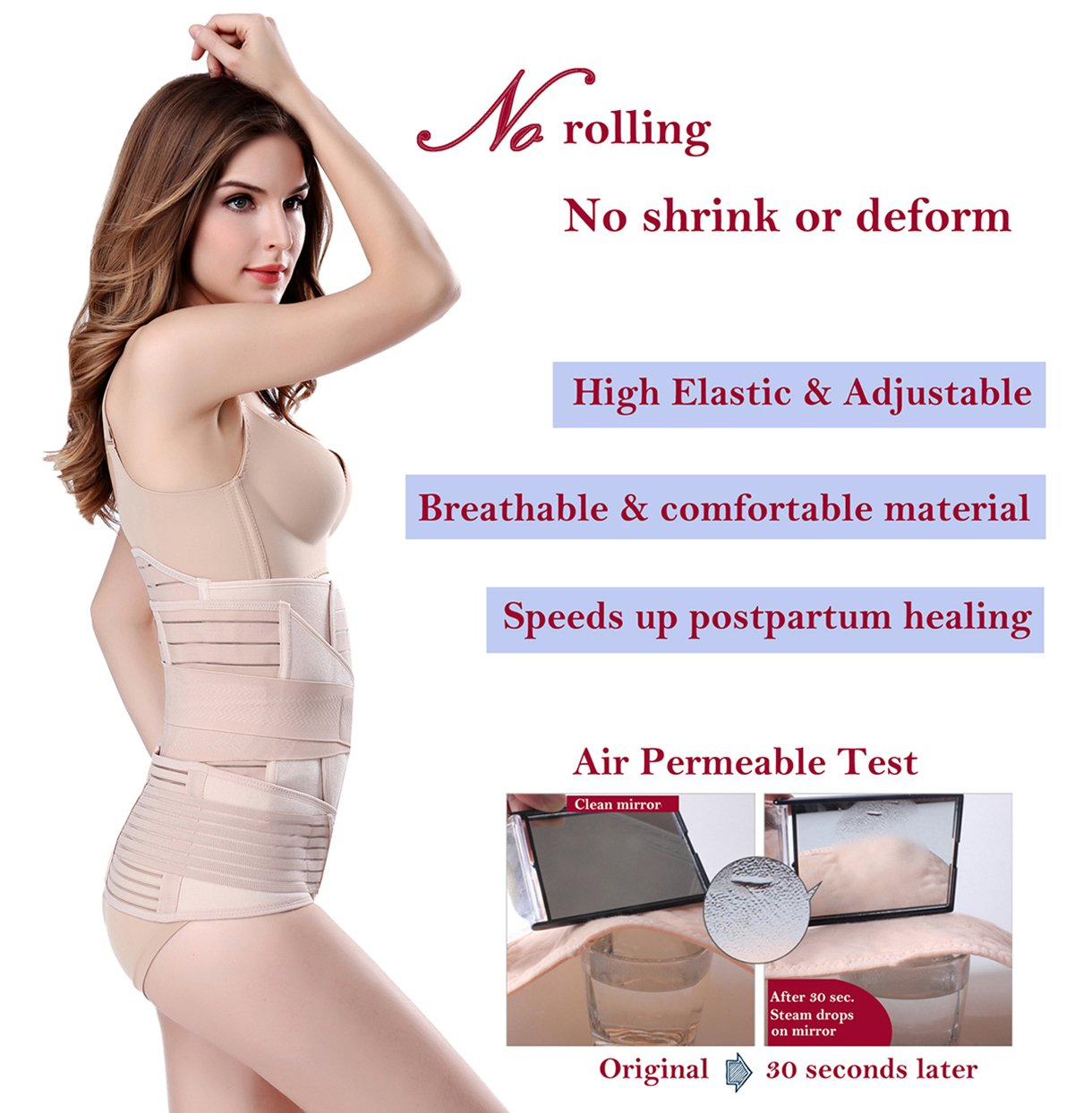 3 in 1 Postpartum Support - Recovery Belly/waist/pelvis Belt Shapewear Slimming Girdle, Beige, One Size by Chongerfei (Image #3)