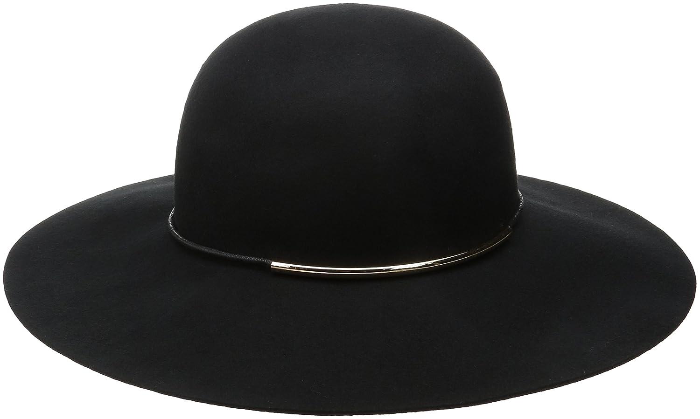 Nine West Women's Felt Floppy Hat with Metal Tube Black One Size Nine West Accessories 6987-001MC.MCY