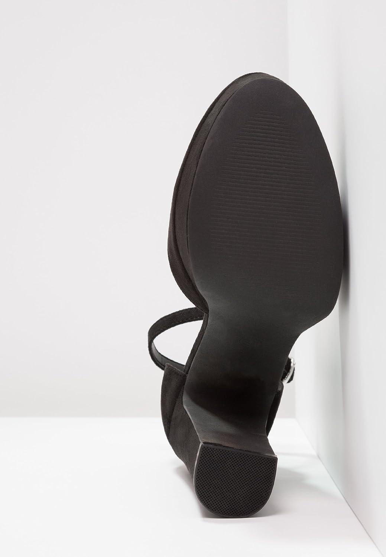 Even&Odd Plateau Pumps Heels für Damen - High Heels Pumps mit Blockabsatz & Fesselriemchen - Riemenpumps mit 12 cm hohem Absatz - Abendschuhe elegant für Frauen Schwarz 1788c5