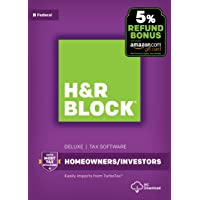 H&R Block Tax Software Deluxe 2017 [Federal Only] with 5% Refund Bonus Offer [PC Download]