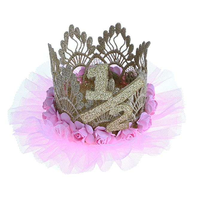 Segolike Baby Girl 1 2 Half Birthday Crown Headband Flower Party Hat Hairband
