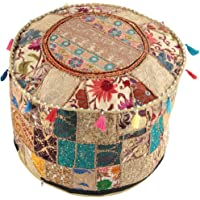 NANDNANDINI - Mooie handgemaakte kerst decoratieve Indiase Vintage Ottomaanse Poef Cover,Patchwork Ottoman, woonkamer…