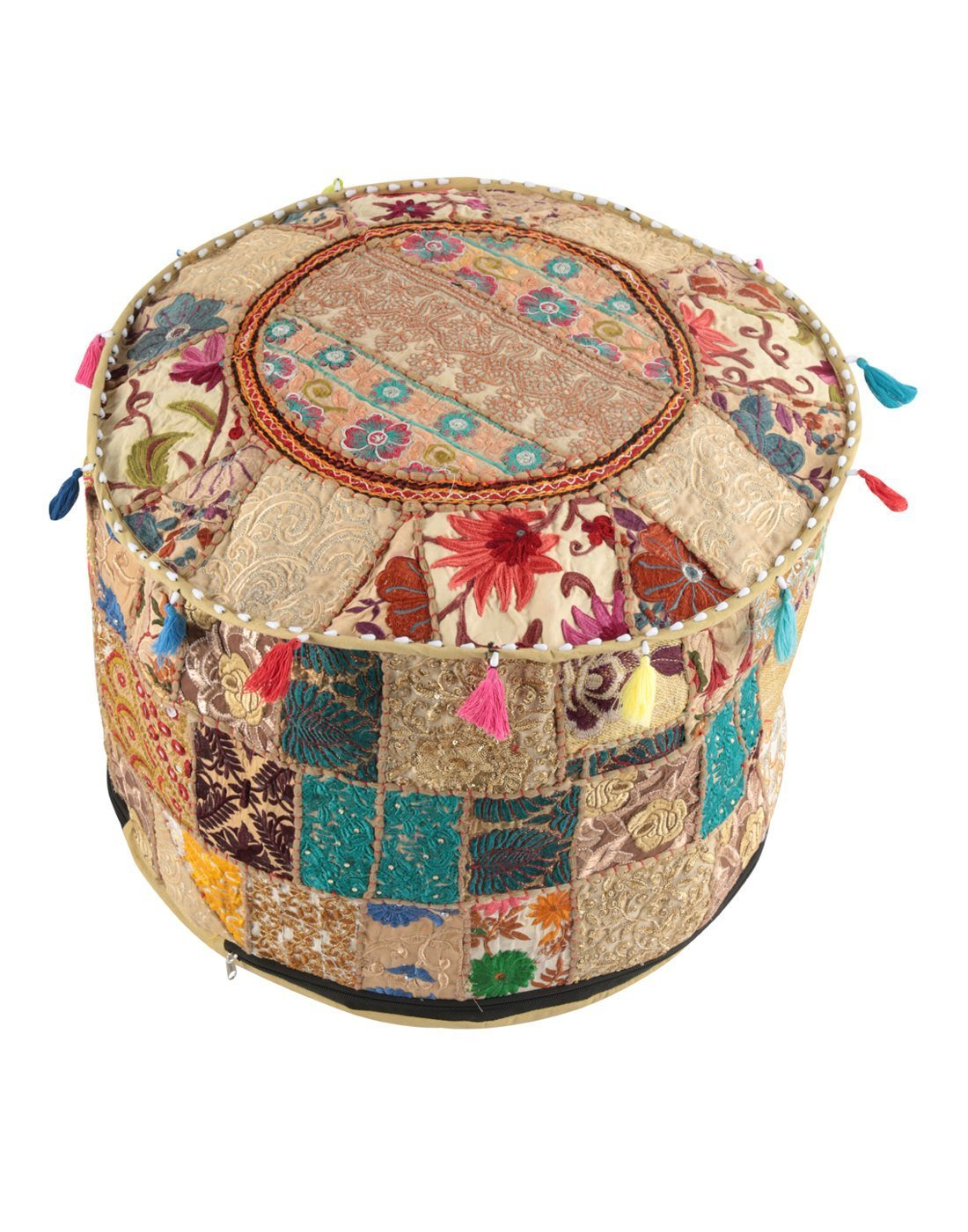 NANDNANDINI - Beautiful HANDMADE Christmas Decorative Indian Vintage Ottoman Pouf Cover ,Patchwork Ottoman, Living Room Patchwork Foot Stool Cover,Decorative Handmade Home Chair Cover