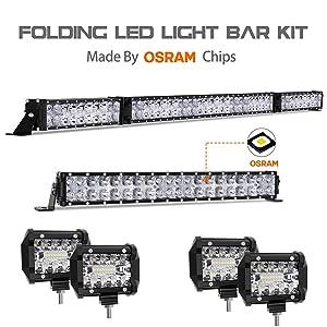 """LED Light Bar Kit, Autofeel 72000LM OSRAM Chips 52 Inch + 22 Inch Flood Spot Beam Combo White LED Light Bars + 4PCS 4"""" LED Light Pods Combo 6000K Fit for Jeep Wrangler Ford Truck Boat"""