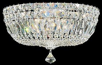 schonbek 589340m swarovski lighting petit crystal deluxe flush mount lighting fixture silver - Schonbek