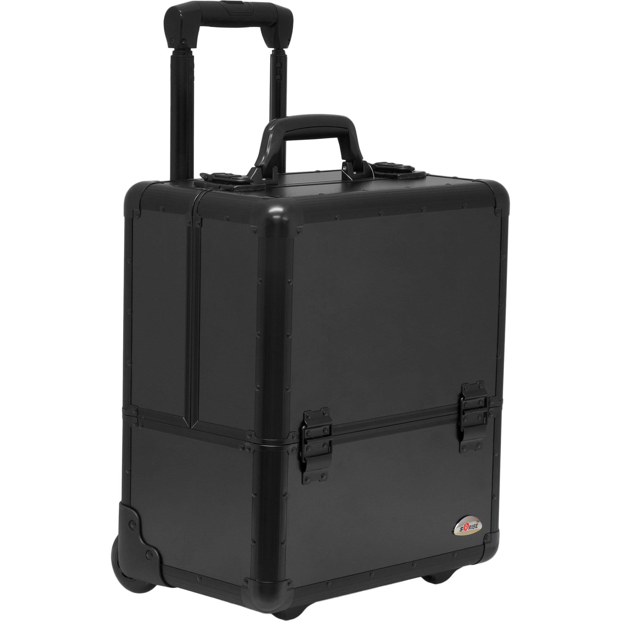 SUNRISE Makeup Case on Wheels C6033 Artis Professional Storage, 8 Trays with Adjustable Dividers, Black Matte by SunRise