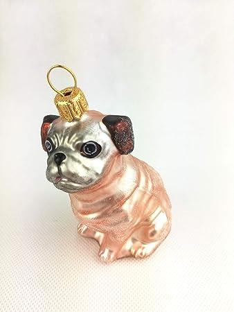Weihnachtsdeko Hund.Unbekannt Mops Braun Beige Hund Glas Weihnachtsschmuck