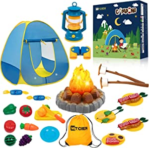 MITCIEN Kids Camping Play Tent with Toy Campfire / Marshmellow /Fruits Toys Play Tent Set for Boys Girls Indoor Outdoor Pretend-Play Game