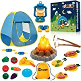 MITCIEN Kids Camping Play Tent with Toy Campfire / Marshmallow /Fruits Toys Play Tent Set for Boys Girls Indoor Outdoor Prete