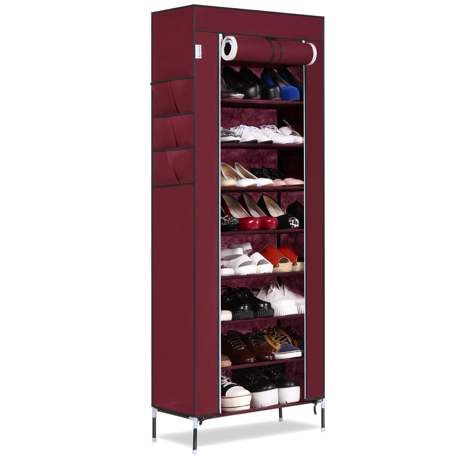 Keland 10-Tier Standing Tall Large Capacity Shoes Storage Organizer,Portable Shoe Rack with Dustproof Fabric Cover(US Stock) (Wine Red)