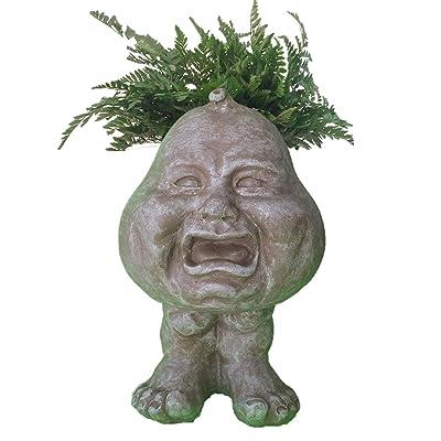 """Muggly's Homestyles 37067 Crying Son Face Planter 12"""" Stone Wash Garden Statue : Garden & Outdoor"""