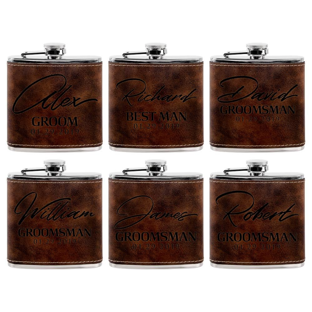 Set of 6 - Personalized Groomsmen Flasks, Groomsmen Gifts | 6oz Leatherette Personalized Flask for Liquor w Optional Gift Box - Personalized Groomsman Proposal Gifts | Wedding Favor #8 RUSTIC