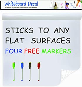 "Extra Large Whiteboard Decal Sticker, Self-Adhesive Contact Paper Vinyl Message Board (6.5 FEET) Peel and Stick Wallpaper with 4 Dry Erase Markers, Size 17.7"" X 78.7"""