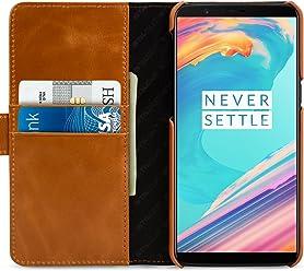 StilGut Talis Case Portafoglio, Custodia in Pelle Cover per OnePlus 5T. Chiusura Magnetica a Libro Flip-Case in Vera Pelle Fatta a Mano, Cognac