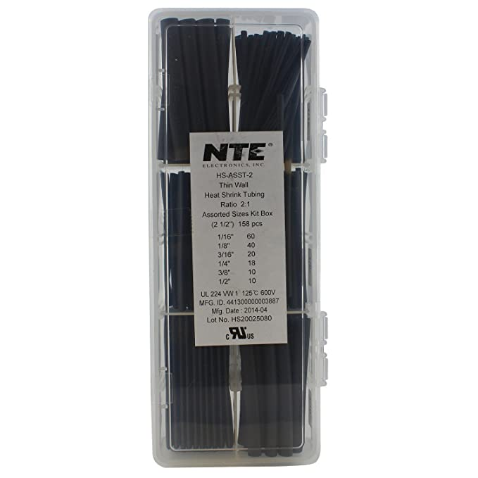 Thin Wall NTE Electronics 47-11125-W Heat Shrink Tubing 25 Spool 1 1//2 Diameter White 1 1//2 Diameter 25/' Spool Inc. 2:1 Shrink Ratio