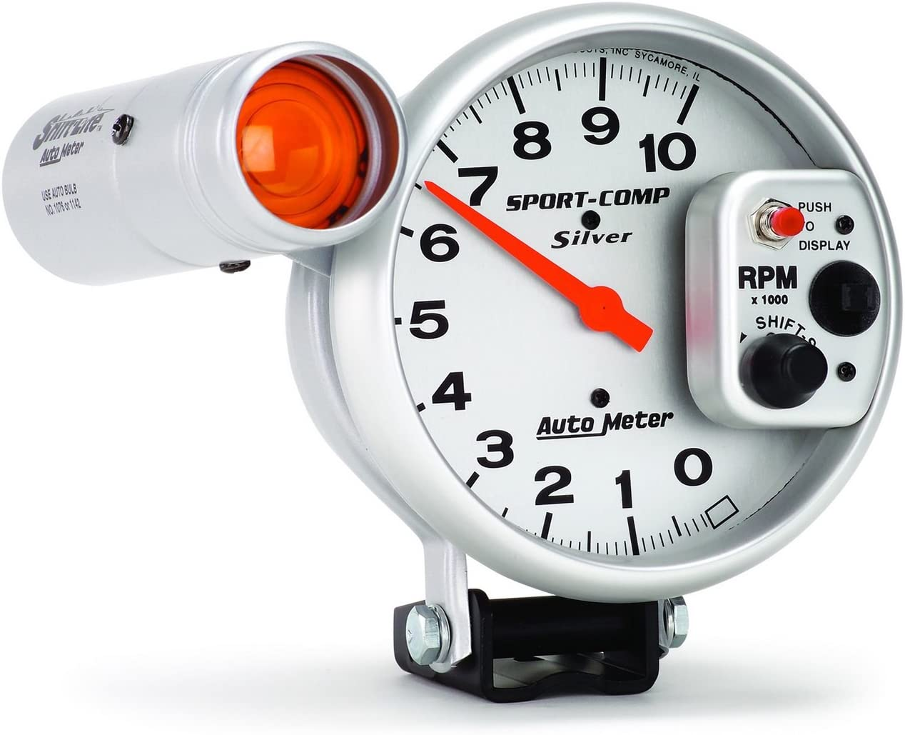 Auto Meter 3911 Sport-Compact Pedestal Mount Shift-Lite Tachometer Gauge