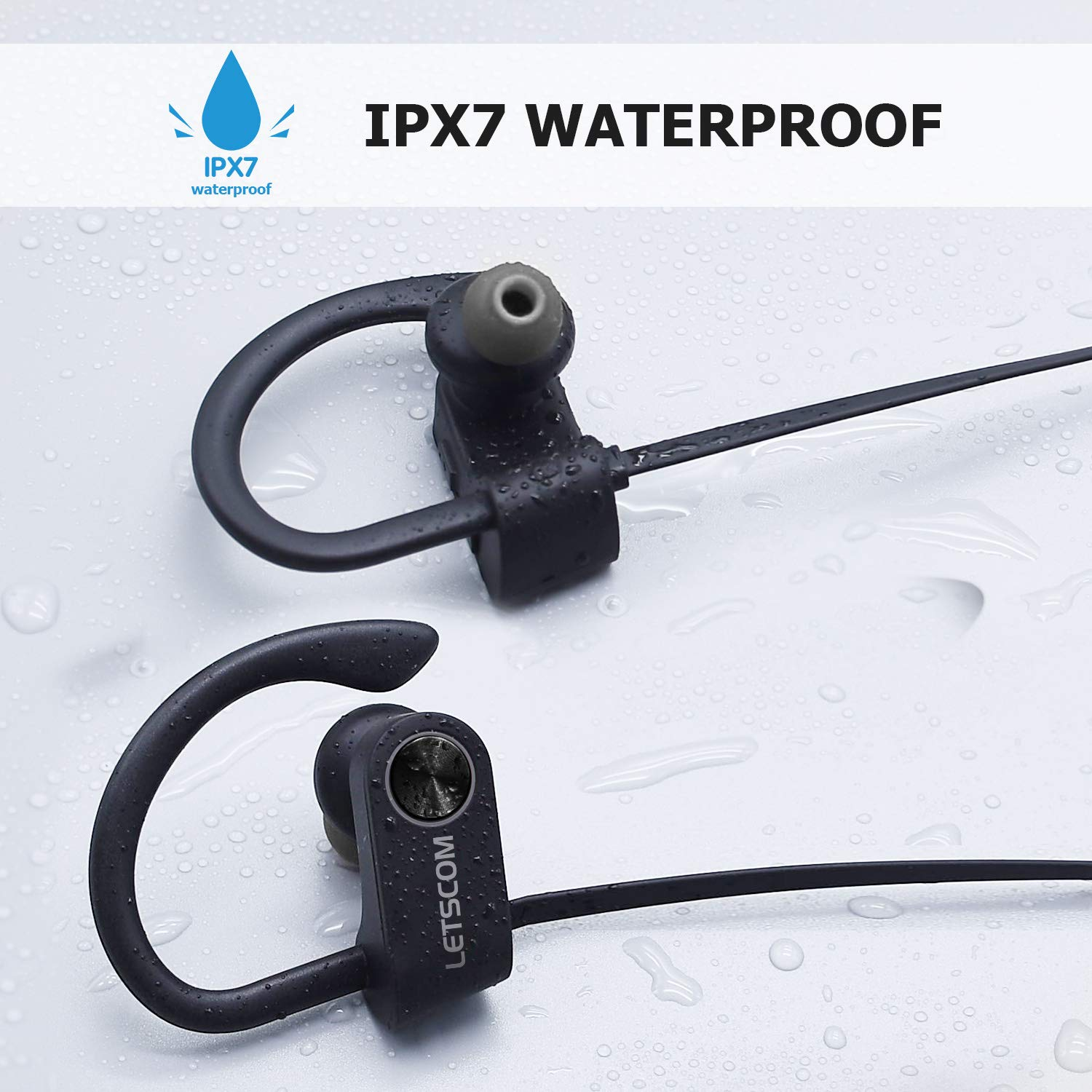 Bluetooth Headphones, LETSCOM Wireless Earbuds IPX7 Waterproof Noise Cancelling Headsets, Richer Bass & HiFi Stereo Sports Earphones 8 Hours Playtime Running Headphones with Travel Case by LETSCOM (Image #4)