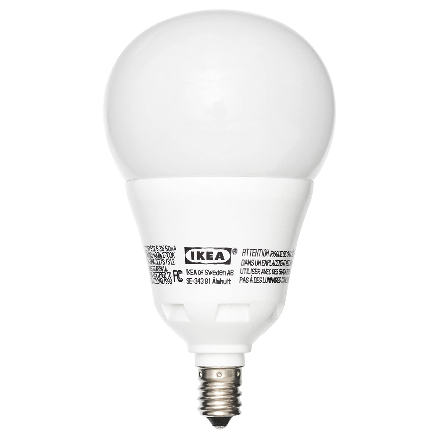Ikea Ledare E12 400 LED Light Bulb 6.3 Watt DIMMABLE Globe Opal ...