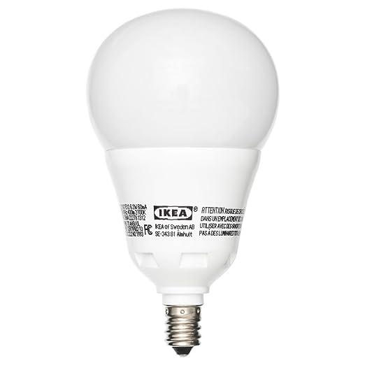 IKEA ledare bombilla LED E12 400 6,3 W regulable globo Ópalo