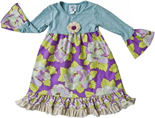 product image for Cheeky Banana Little Girls Long Sleeve Babydoll Dress in Mint Lilac Floral Print