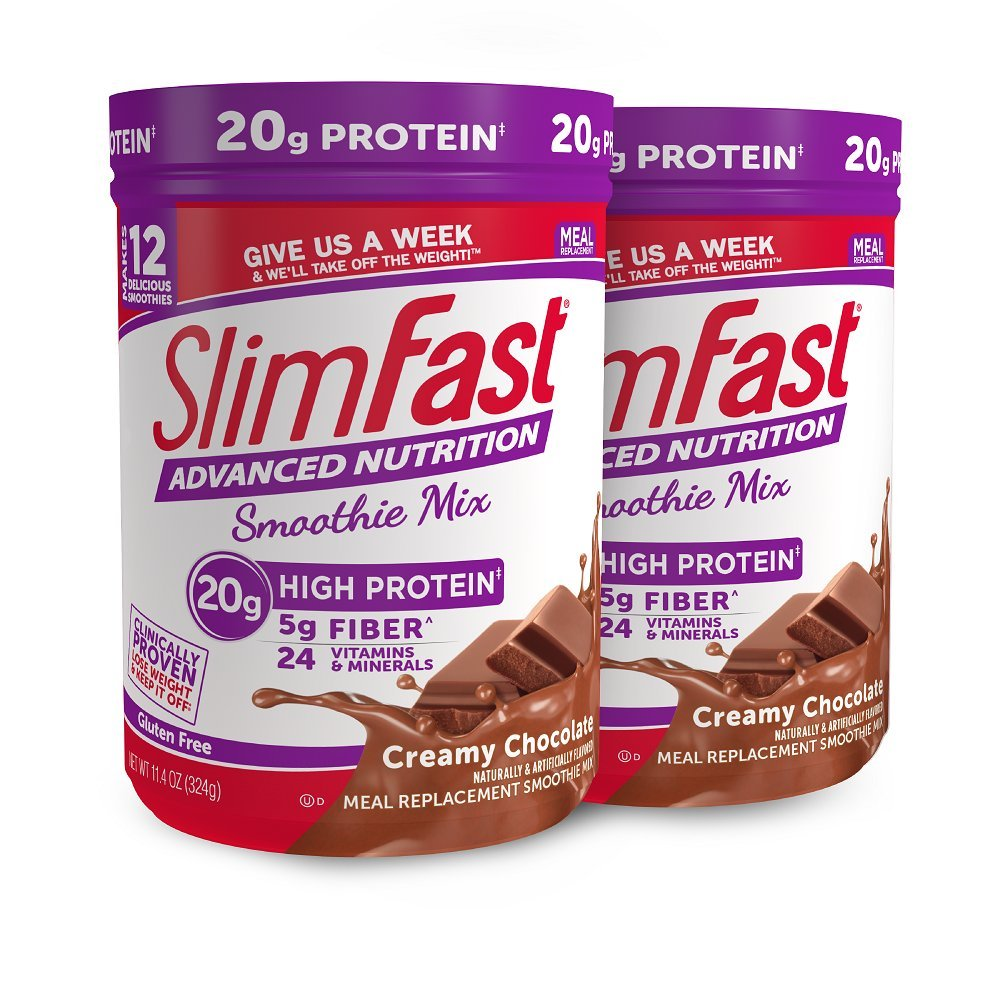 SlimFast Advanced Nutrition Creamy Chocolate Smoothie Mix - Weight Loss Meal Replacement - 20g of protein - 11.01 oz. Canister - 12 servings (Pack of 2) by SlimFast