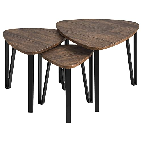 Kealive Nesting Coffee Tables Sets of 3 Industrial Stacking Metal End Side Tables Modern for Bedroom Living Room Table Set with Sturdy Metal Legs, Modern Furniture Vintage Nightstands, Wood Grain
