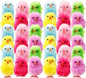 Pannow Small Cute Chenille Easter Chicks-Pack of 36 Party Favors Kids Easter Egg Bonnet Decoration,(Multicolor,1.5