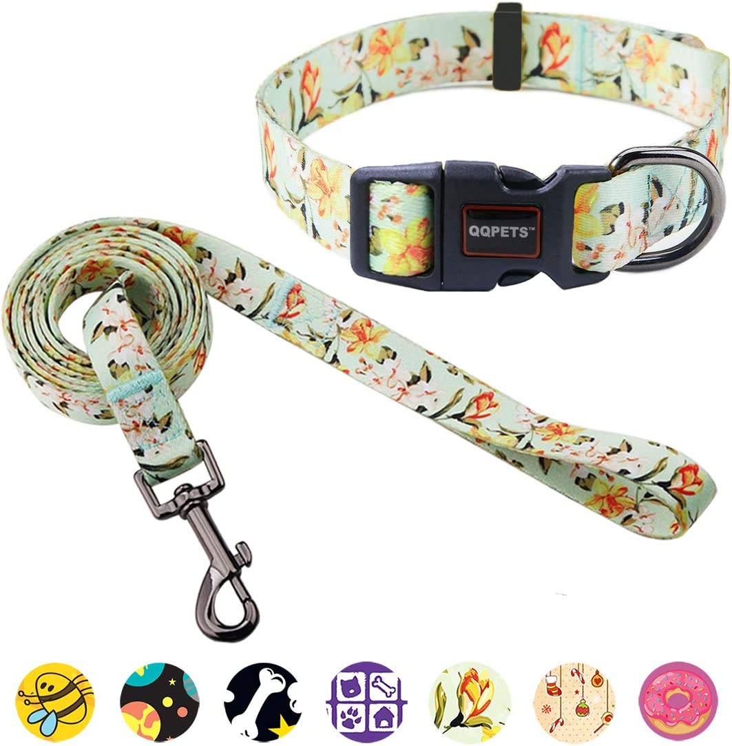 S M Pink Patchwork Quick Release Buckle Closure Dog Harness Flower Set Comfortable Adjustable Sizes XS