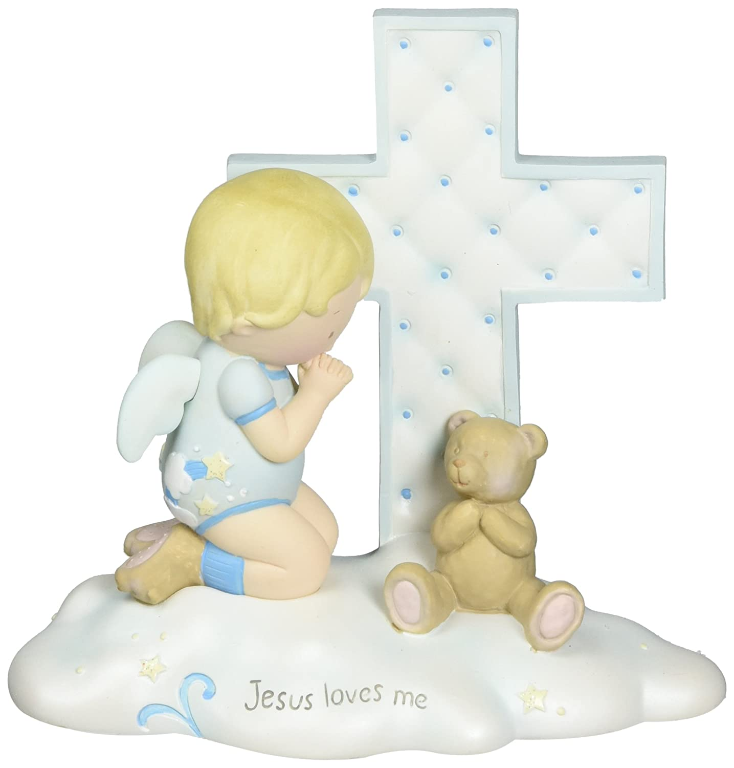 Cutie Patootie by Pavilion Boy Angel with Cross Figurine, 4-1/2-Inch Tall