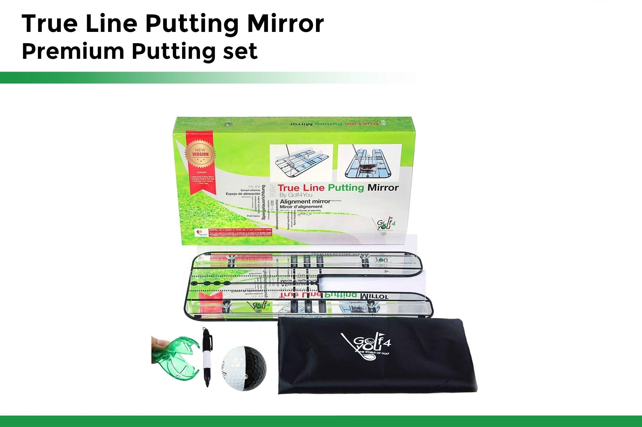Golf Training Aid, Putting Set - XL Alignment Mirror Design with Our Exclusive Clear Adjustable Guide Rails ''True Line Putting Mirror'' - Leading Practice Aid for On-Line, Consistent Putting Stroke by GOLF4 YOU THE WORLD OF GOLF (Image #2)