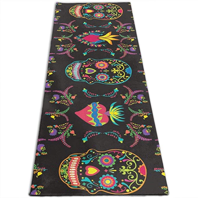 Amazon.com: Alfombrilla de yoga con estampado de calaveras ...