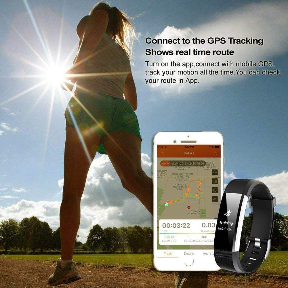 Lintelek Fitness Tracker Large OLED Touch Screen Activity Tracker